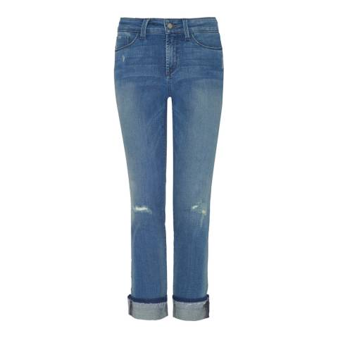 NYDJ Mid Blue Jessica Capri Boyfriend Cotton Stretch Jeans