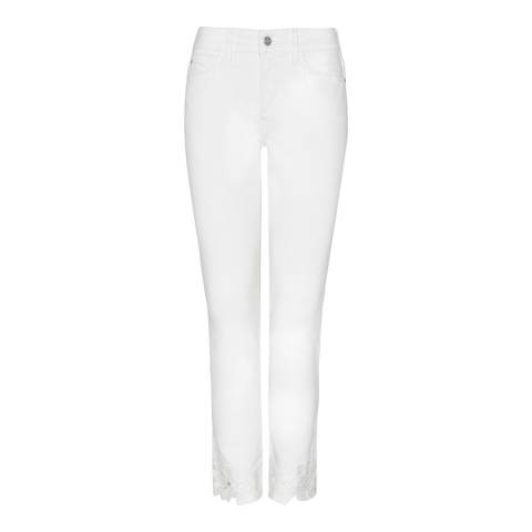 NYDJ White Alina Ankle Crop Cotton Stretch Jeans