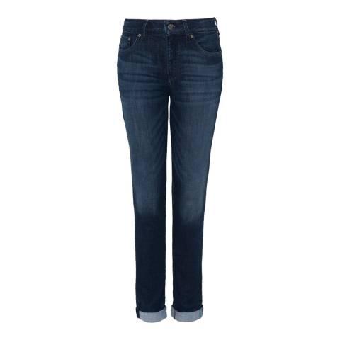 NYDJ Dark Blue Wash Girlfriend Cotton Stretch Jeans