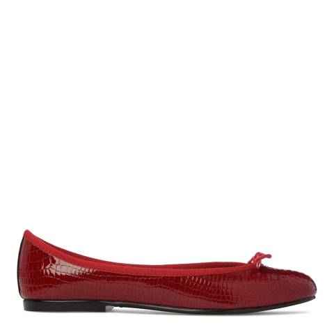 French Sole Red Patent Small Croc India Flats