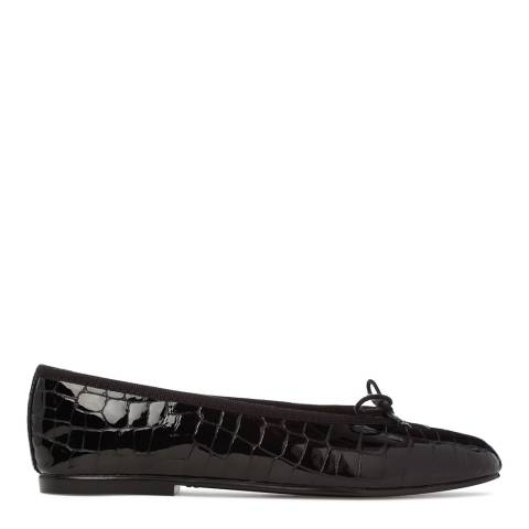 French Sole Womens Black Patent Croc Simple Flat