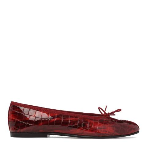 French Sole Womens Red Patent Croc Simple Flat
