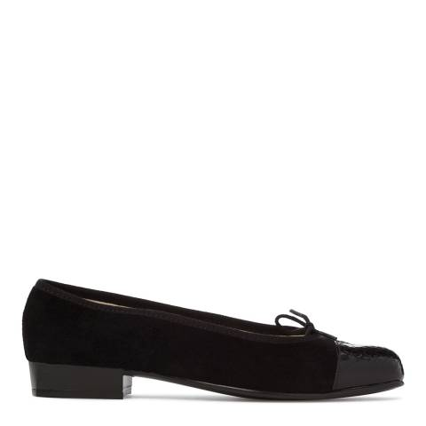 French Sole Womens Black Suede/Croc Patent Square Toe Flat