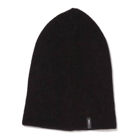 Love Cashmere Black Unisex Cashmere Rib Structure Hat
