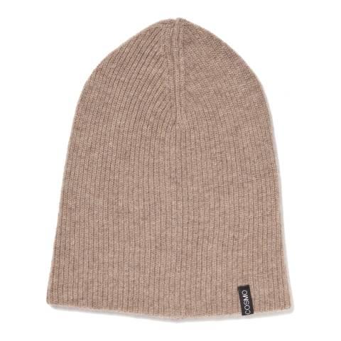 Love Cashmere Beige Unisex Cashmere Rib Structure Hat