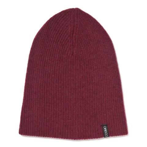 Love Cashmere Burgundy Unisex Cashmere Rib Structure Hat