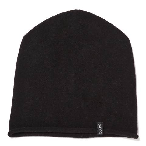 Love Cashmere Black Unisex Cashmere Rolled Hem Hat