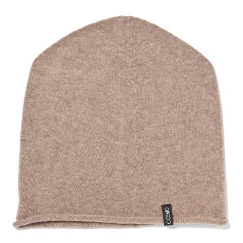 Love Cashmere Beige Unisex Cashmere Rolled Hem Hat