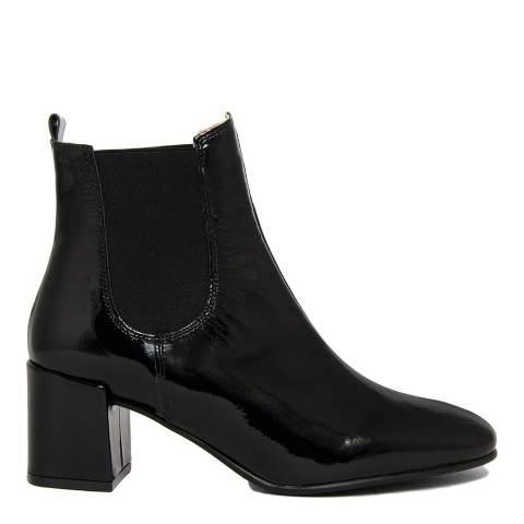 EJE Patent Black Leather Heeled Chelsea Boot