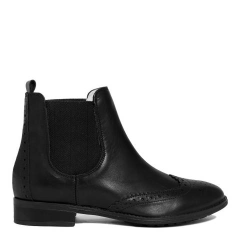 EJE Black Leather Brogue Style Chelsea Boot