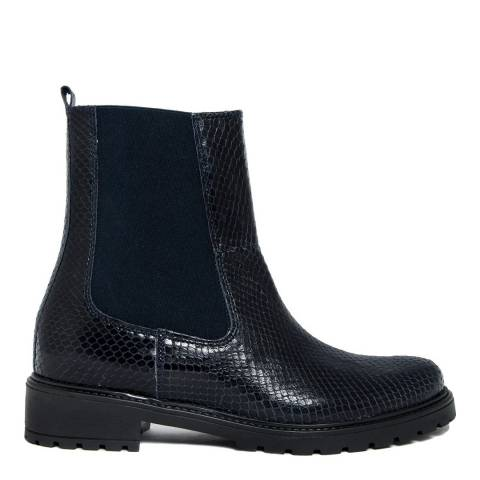 EJE Navy Reptile Embossed Leather Chelsea Boot