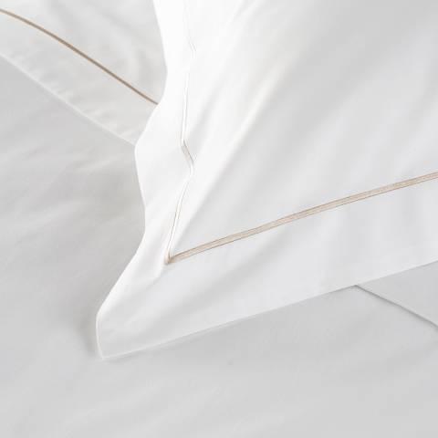 Hotel Living 800TC Single Row Cord Super King Pillowcase, Flax/White