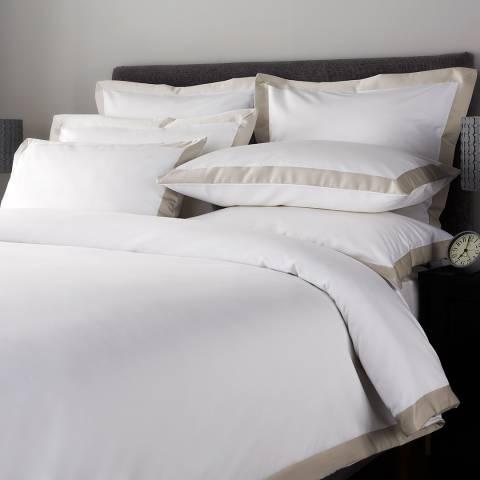 Hotel Living 800TC Wide Border King Duvet Cover, Flax/White