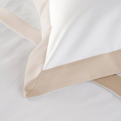 Hotel Living 800TC Wide Border Pair of Housewife Pillowcases, Flax/White