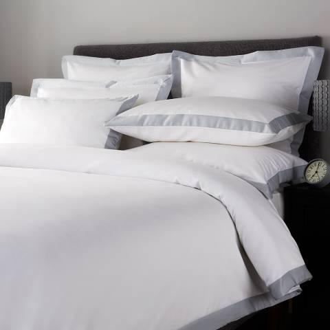 Hotel Living 800TC Wide Border Double Duvet Cover, Ice Grey/White