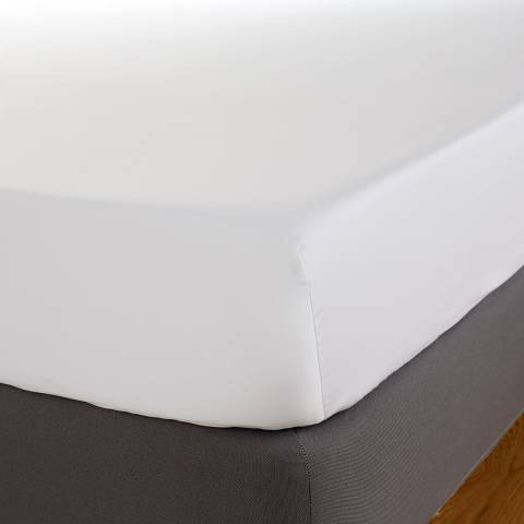 Hotel Living 800TC Double Fitted Sheet, White