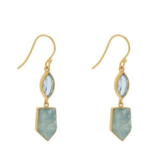 Liv Oliver Blue Topaz and Aquamarine Drop Earrings