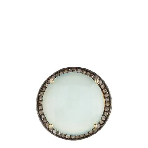 Liv Oliver Sea Green Chalcedony and Diamond Ring