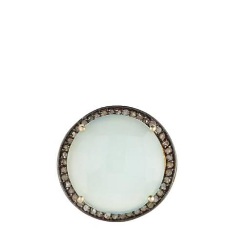 Liv Oliver Gold Sea Green Chalcedony Multi Diamond  Statement Ring