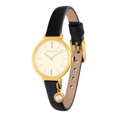 Halcyon Days Black/Gold Agame Strap Pearl Charm Watch