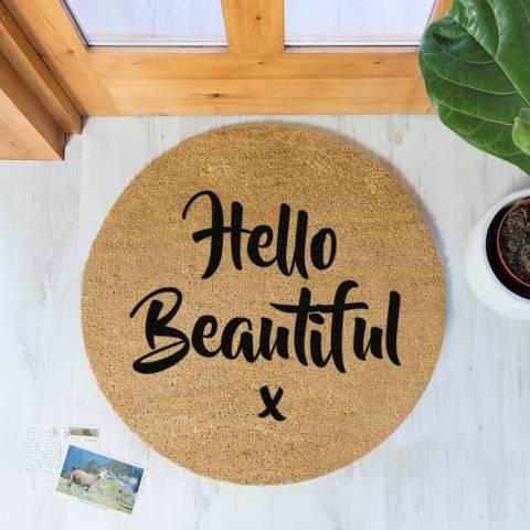 Artsy Doormats Natural/Black Hello Beautiful Round Doormat