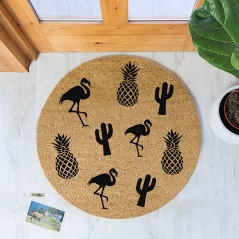 Artsy Doormats Natural/Black Pineapple Round Doormat