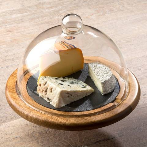 Laguiole Glass Cheese Bell & Wooden Slate Tray