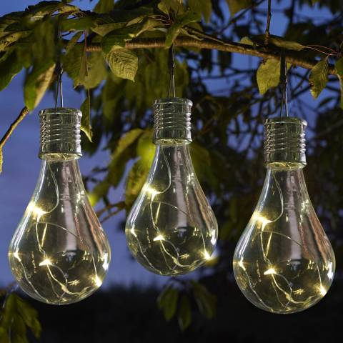 Smart Solar Set of 6 Clear Eureka! Solar Lightbulb Hanging Lights