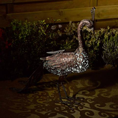 Smart Solar Bronze Peacock Silhouette Light
