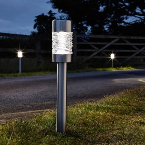 Smart Solar Stainless Steel Set of 4 Martello Stake Lights