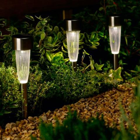 Smart Solar Set of 10 Fluted LED Marker Stake Lights