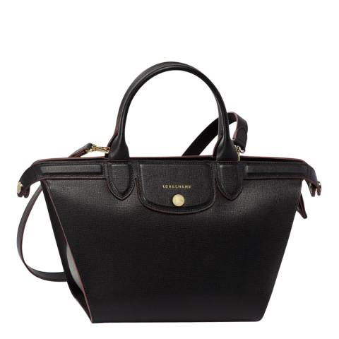 Longchamp Black Le Pliage Heritage Small Leather Bag
