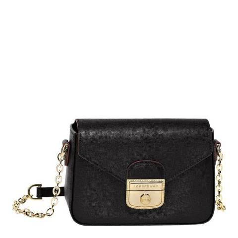 Longchamp Black Le Pliage Heritage Leather Crossbody Bag