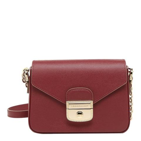 Longchamp Red Le Pliage Heritage Leather Crossbody Bag