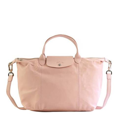 Longchamp Pink Large Le Pliage Cuir Leather Bag