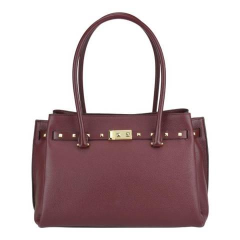 Michael Kors Oxblood Pebbled Leather Large Addison Tote Bag