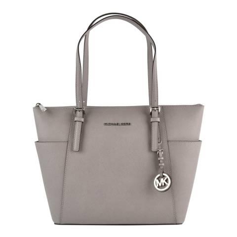 Michael Kors Pearl Grey Jet Set Leather Shoulder Bag