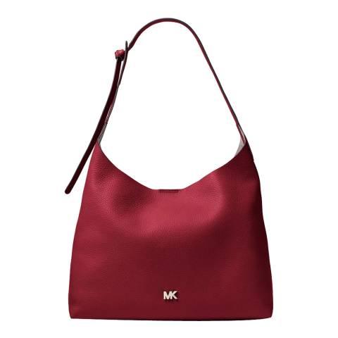 Michael Kors Maroon Junie MD Leather Shoulder Bag