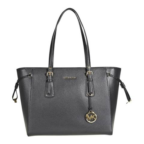 Michael Kors Black Voyager Medium Topzip Tote Bag