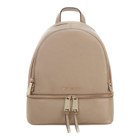 Michael Kors Beige Truffle Rhea MD Leather Backpack