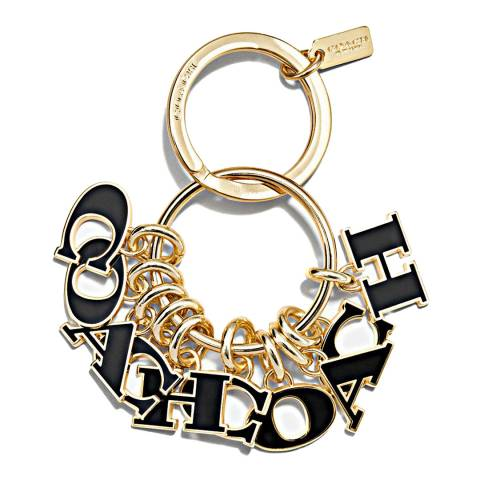 Coach Gold/Black Coach Multi Charms Key Fob