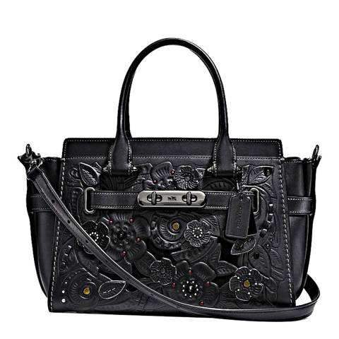 Coach Black Tea Rose Leather Tooling With Applique  Swagger Bag