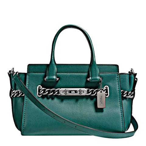 Coach Dark Turquoise ID Glovetanned Leather Refresh Coach 27 Swagger Bag