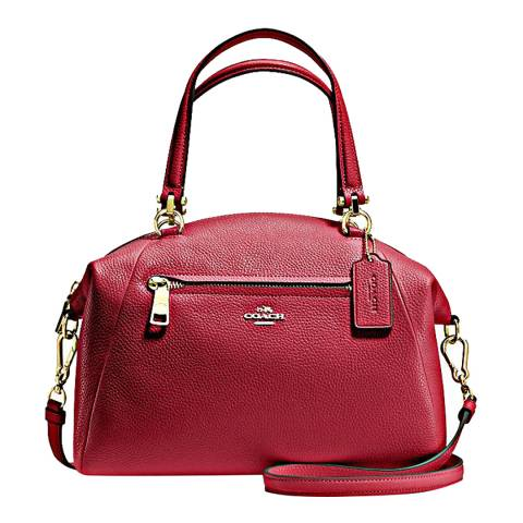 Coach Black Cherry Polished Pebbled Leather Prairie Satchel