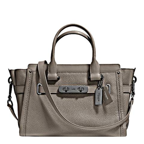 Coach Grey Pebbled Leather Swagger 27 Bag