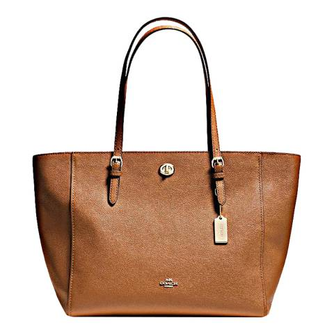 Coach Tan Saddle Crossgrain Turnlock Tote Bag