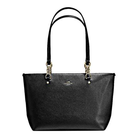 Coach Black Polished Pebble Leather Small Sophia Tote Bag