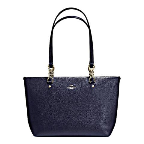 Coach Navy Grain Leather Sophia Pebbled Polished Ladies Tote Bag