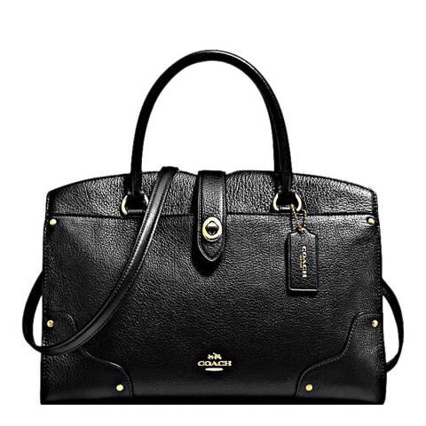 Coach Black Grain Leather Mercer 30 Satchel Bag