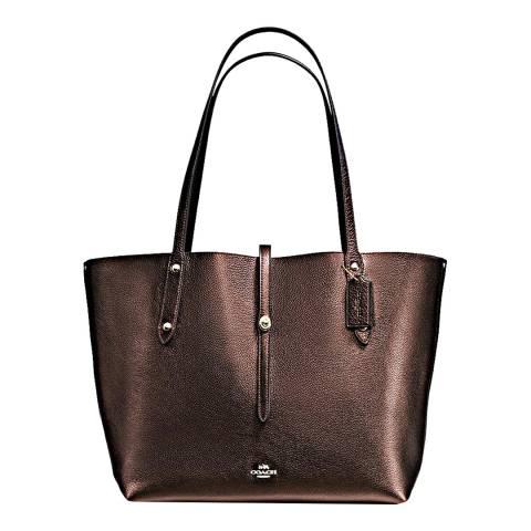 Coach Bronze/Black Polish Pebble Leather Market Tote Bag